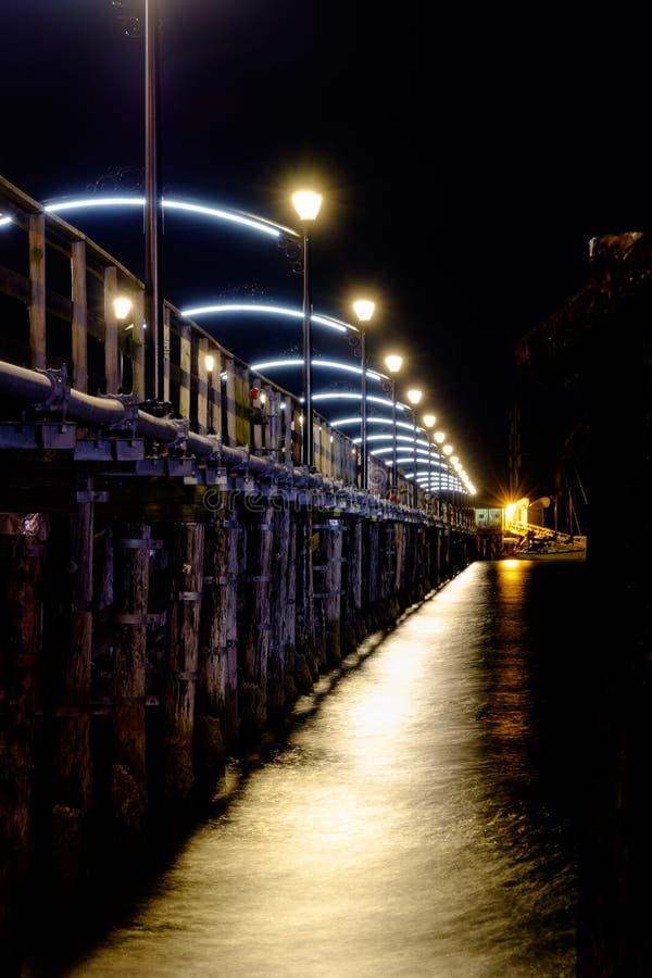 White rock bc pier at night royalty free stock image