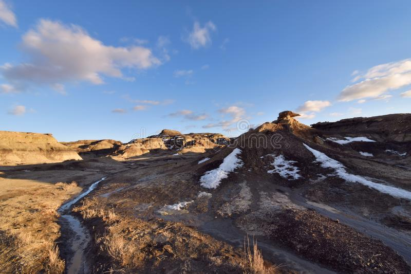White Rock, New Mexico - 2019_01.11: Winter sundown over the otherworldly Bisti De-Na-Zin badlands.  royalty free stock images