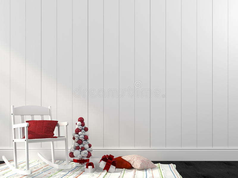 White rocking chair and decorations for Christmas royalty free stock photo