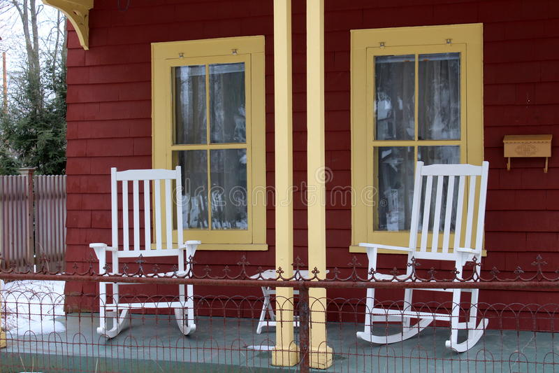 Red Rocking Chairs On Front Porch ~ White rocking chairs on front porch stock photo image of