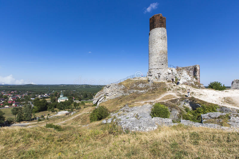 White rocks and ruined medieval castle in Olsztyn, Poland.  royalty free stock image