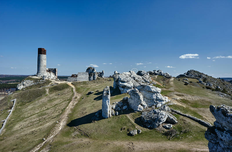 White rocks and ruined medieval castle royalty free stock images