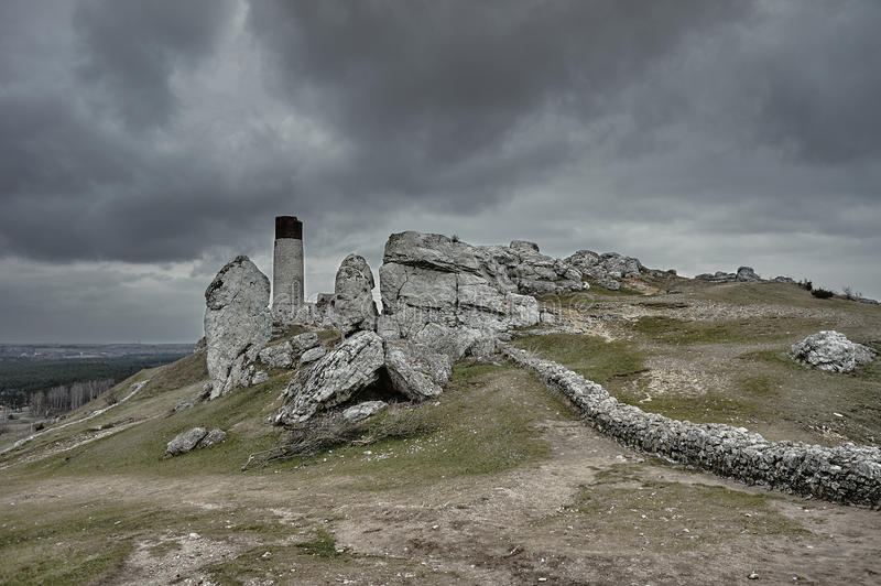 White rocks and ruined medieval castle stock photos