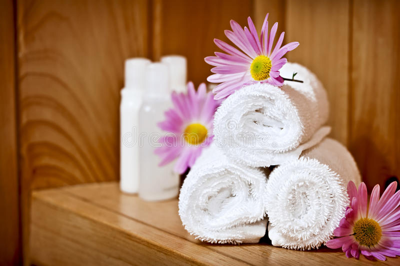 White Rolled Up Spa Towels Royalty Free Stock Images