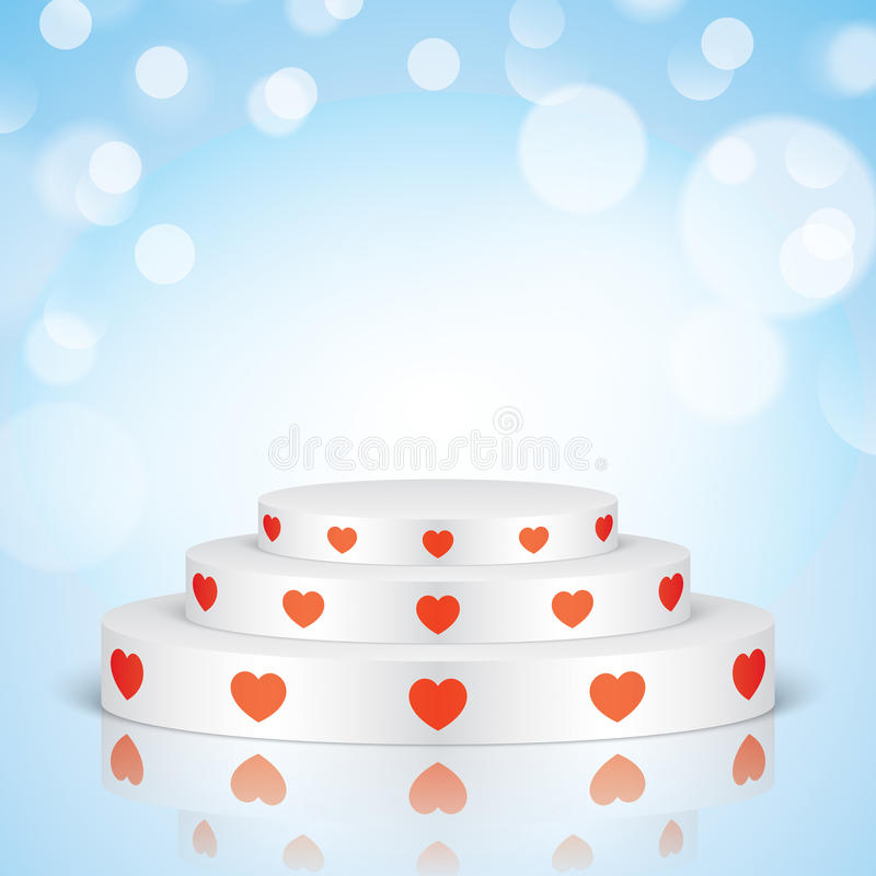 White romantic scene with red hearts. White vector stage with stairs and red hearts, on a blue bokeh background. Oval romantic scene for your valentines day royalty free illustration