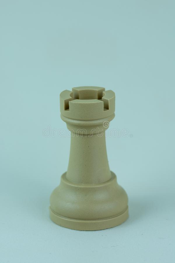 White rook of chess board royalty free stock images