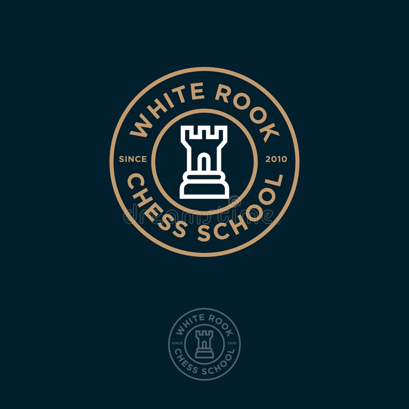 White Rook Logo. Chess club or chess school emblem. Rook and letters in the circle royalty free illustration