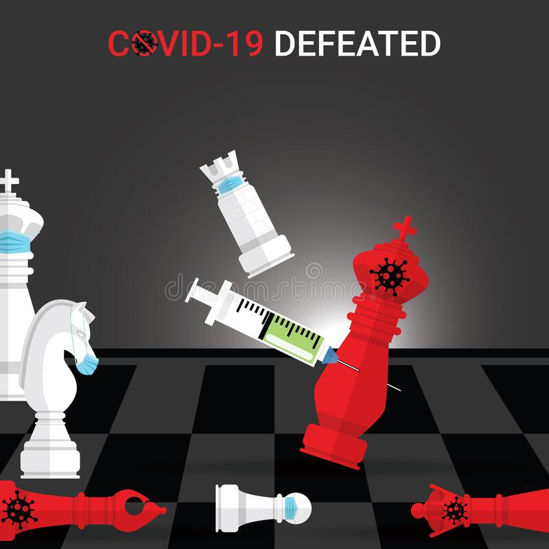 Free White Rook Wear Mask Checkmate By Vaccine The Red King Covid-19. Concept Of Victory Over The Covid-19 Pandemic. Coronavirus Stock Photos - 180975293