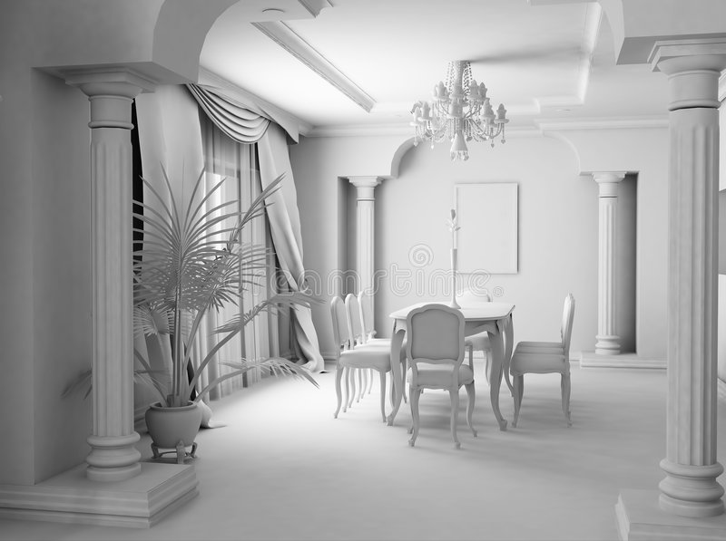 White room. 3D render. White furniture in the white classic room