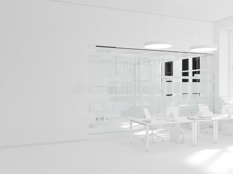 White room as office with desk and laptop computer 3D Rendering royalty free stock photography