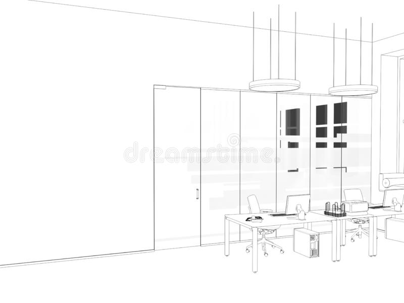 White room as office with desk and laptop computer 3D Rendering stock photos