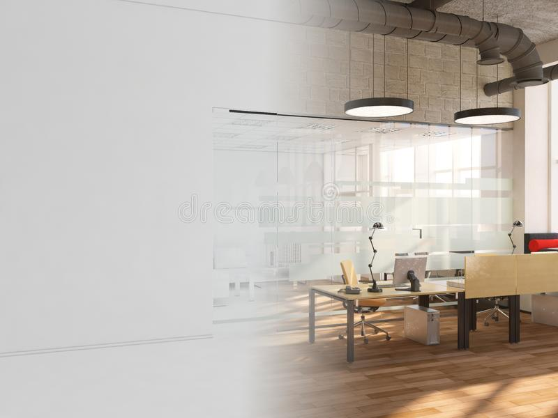 White room as office with desk and laptop computer 3D Rendering stock photography