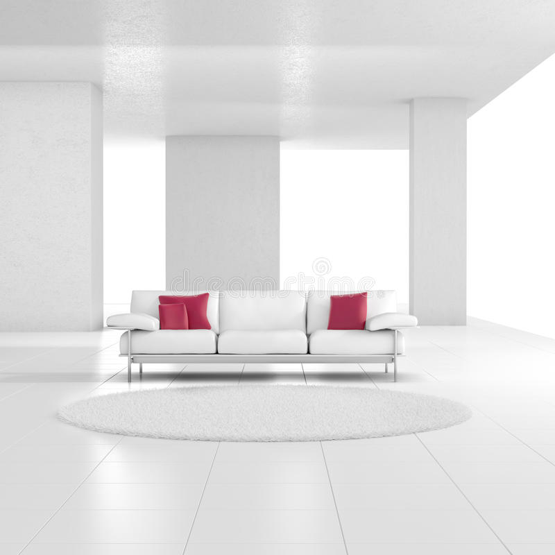 White room with carpet vector illustration