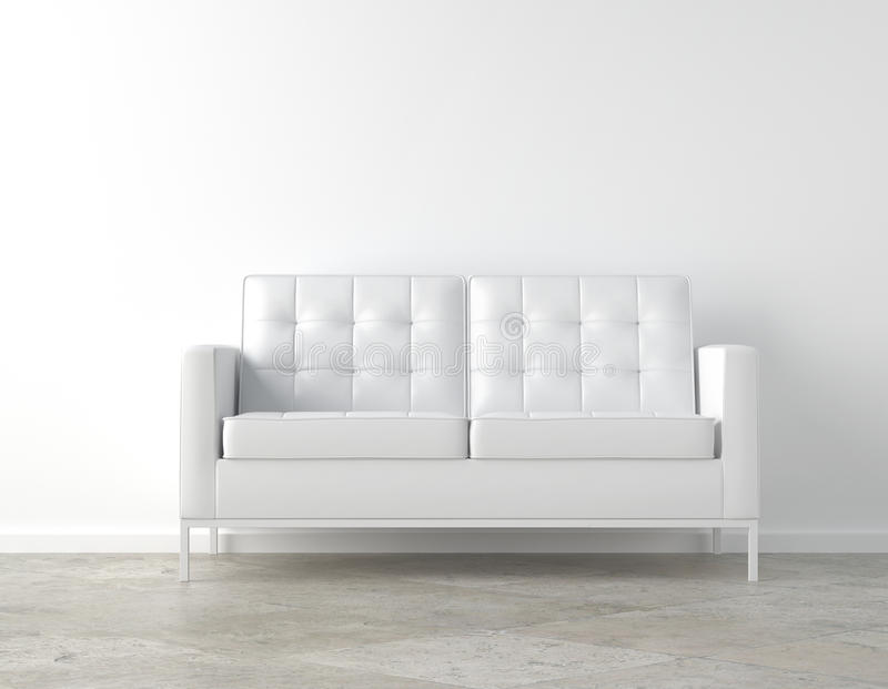 White room and couch. Interior scene of white couch on white room with copy space royalty free illustration
