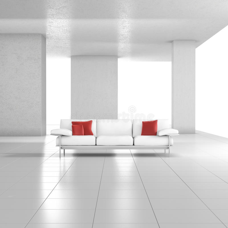 White room with couch stock illustration
