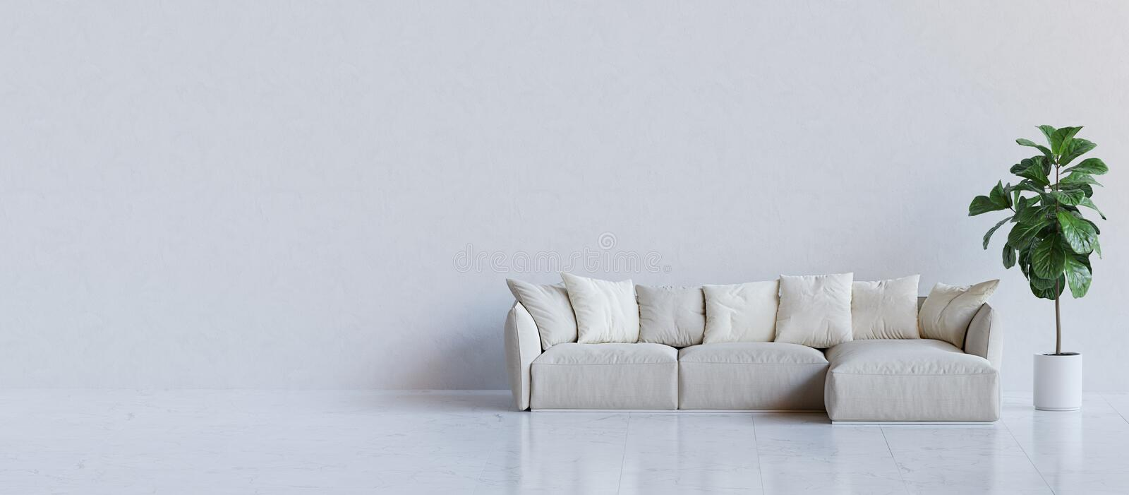 White room with couch and a plant. 3D render. White room with couch and a plant. 3D render illustration vector illustration