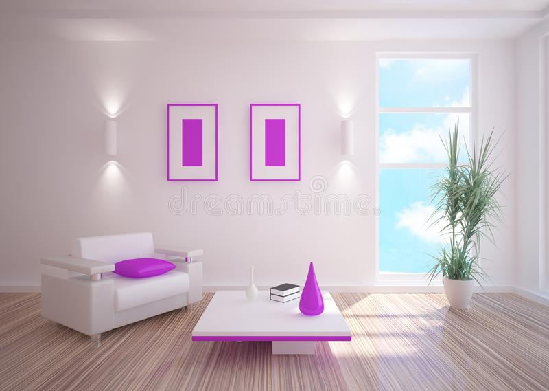 White room with furniture. White room with violet furniture vector illustration