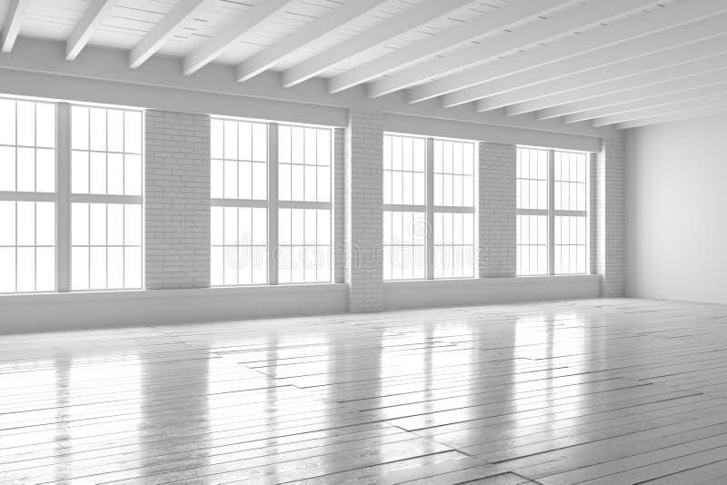 White room interior, open space loft mockup stock photography