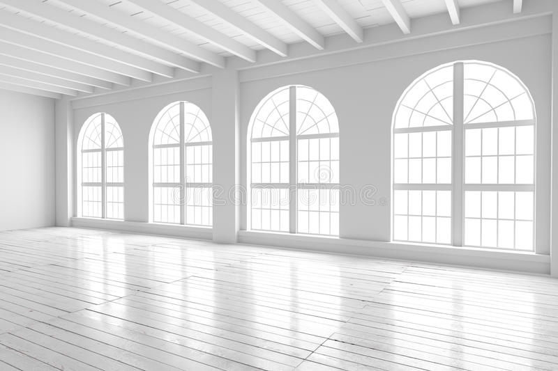 White room interior, open space mockup stock photography