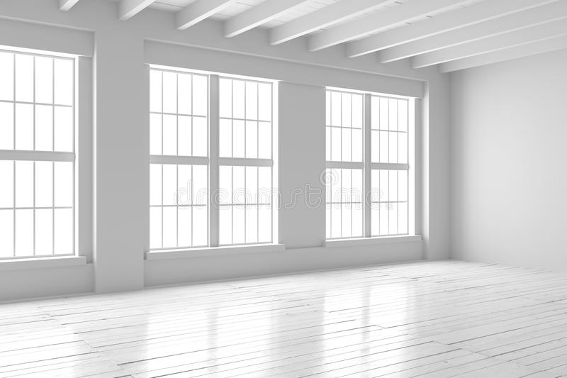 White Room Interior, Open Space Mockup Stock Illustration ...