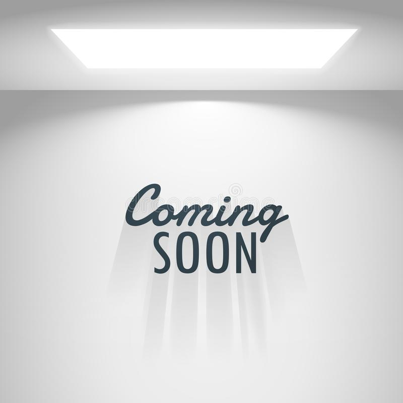 White room with light and coming soon text royalty free illustration