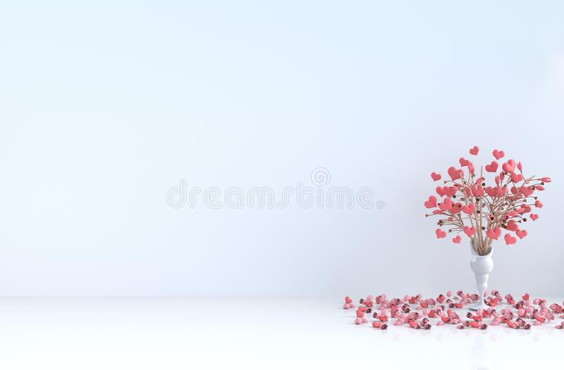 White room of love on Valentine`s Day.3D render. White room of love. Decorated with red heart, tree, red rose and petals. Rooms of Love on Valentine`s Day stock photography