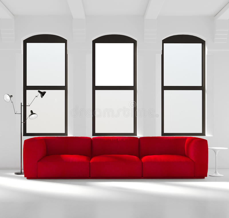 White room with a red sofa. Rendering of a White room with a red sofa stock photos