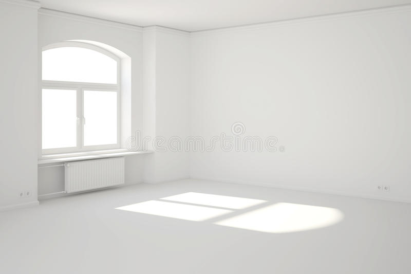 White room with window and sunbeam stock illustration