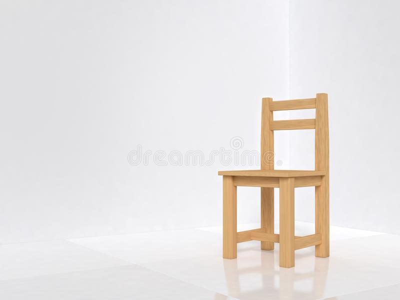 White room and wood chair 3d render royalty free illustration
