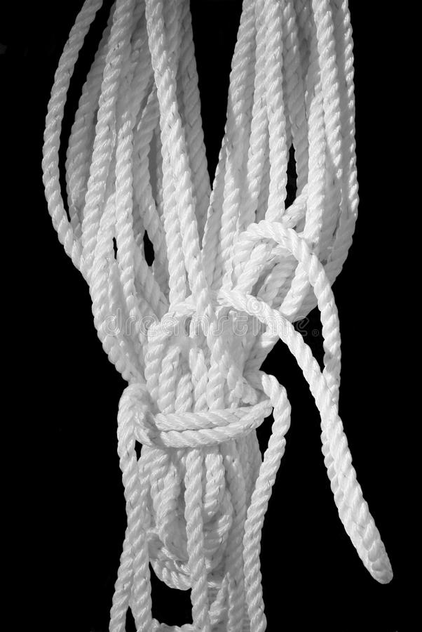 White Rope on Black stock image