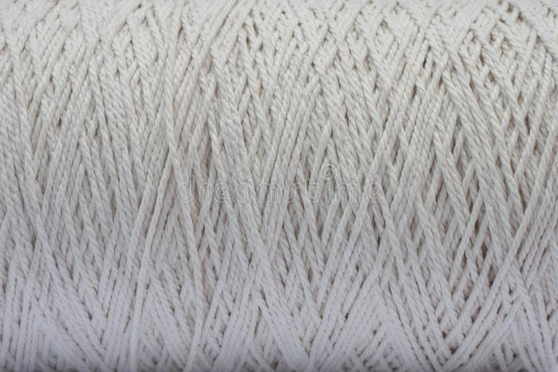 Texture Of White Rope In Roll Stock Photo - Image of twine