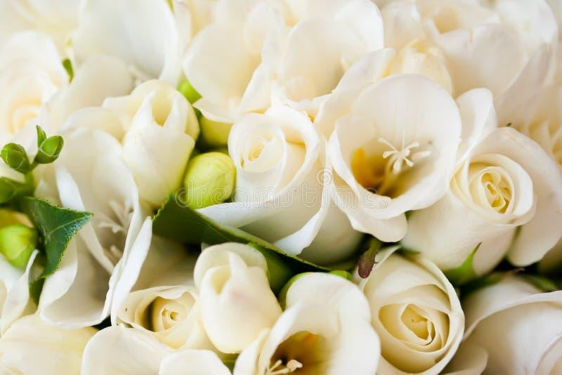 White Rose Bridal Flower Wedding Bouquet. Detail stock photo