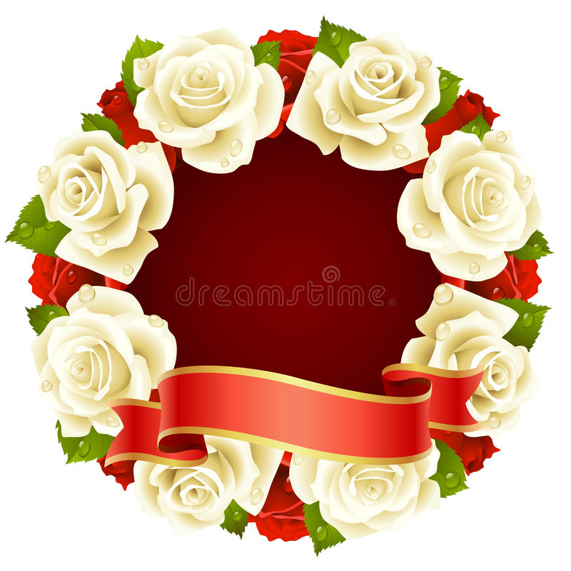 Download White Rose Frame In The Shape Of Round Stock Vector - Illustration: 13409886