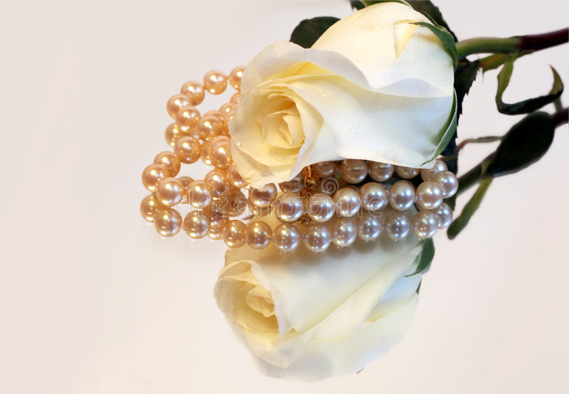 White Rose And Pearls Reflection royalty free stock photography
