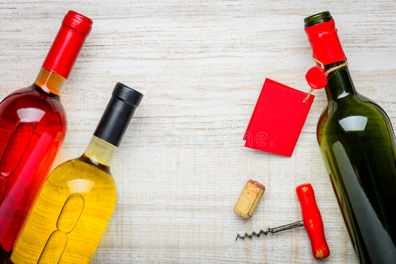 White and Rose Wine Bottles stock photos