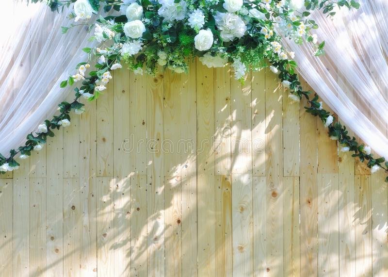 White roses bouquet on wooden backdrop royalty free stock photo