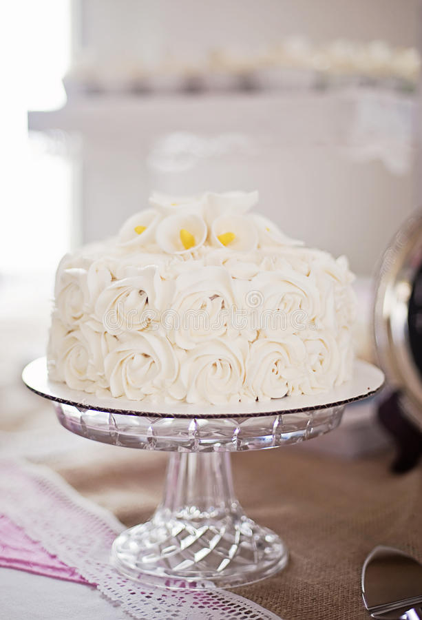 White roses cake stock photo