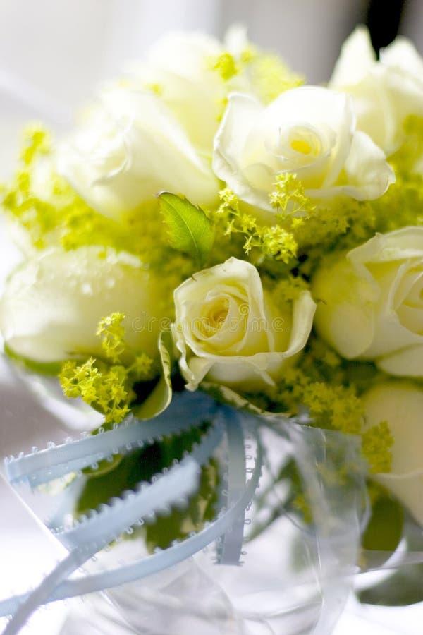 White Roses In Mason Jar Royalty Free Stock Photo