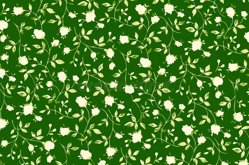 White roses pattern background. Illustration design. Seamless, fabric, flower, floral, wallpaper, green, backdrop, color, leaf, garden, plaid, texture, new royalty free illustration