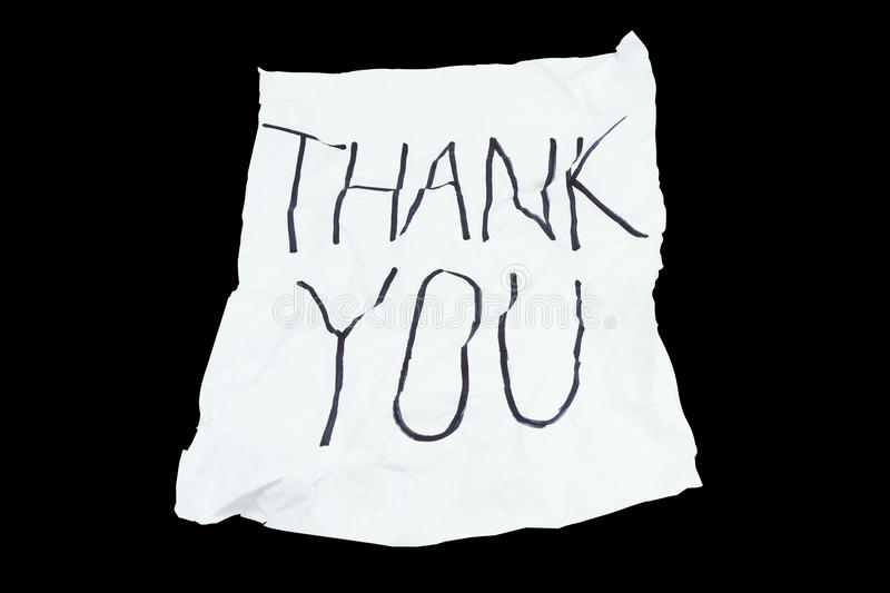 A white rough paper with word Thank you royalty free stock image