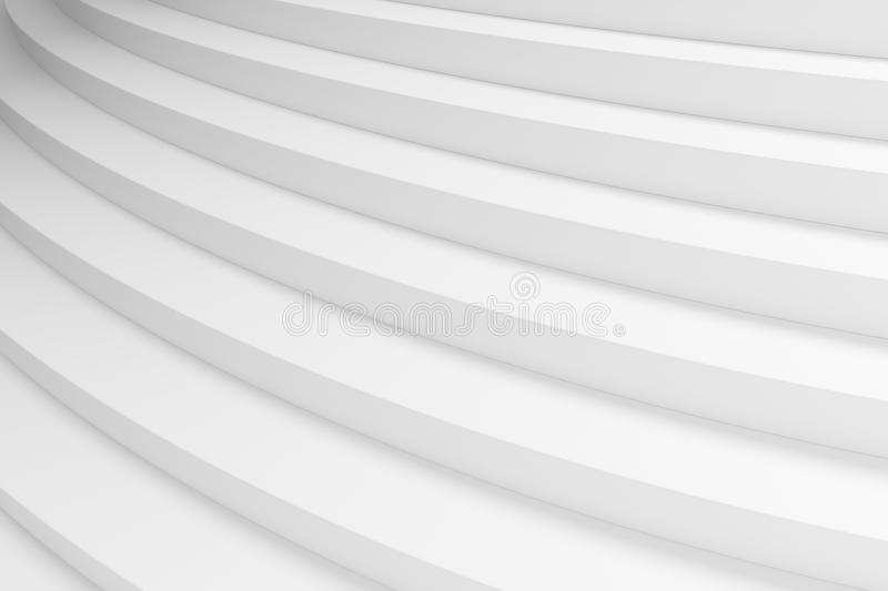 White round ascending stairs closeup diagonal view. White round ascending stairs of upward staircase with shadows from soft light closeup diagonal view 3d royalty free illustration