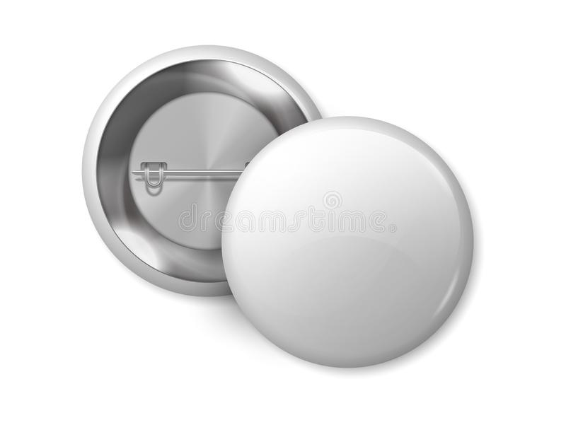 White round badge mockup. Pin button blank merchandise, realistic 3D metal labels design template. Vector magnet badge. White round badge mockup. Pin button stock illustration