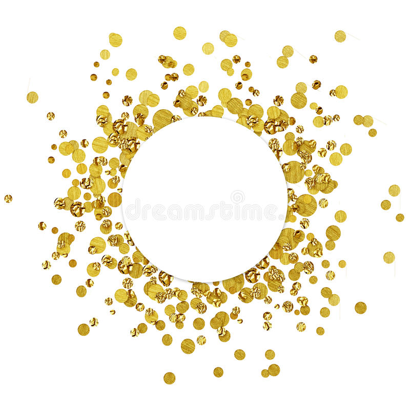 White round card on scattered gold confetti stock illustration