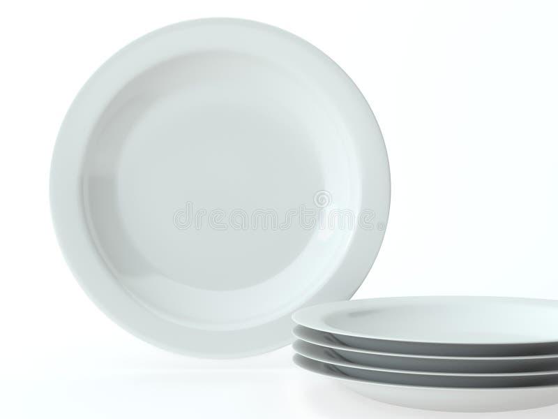 White Round Ceramic Dishes Set Royalty Free Stock Images