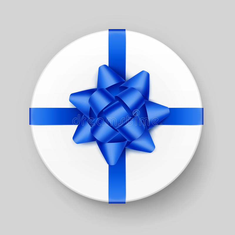 White Round Gift Box with Blue Bow and Ribbon. Vector White Round Gift Box with Shiny Blue Bow and Ribbon Top View Close up Isolated on Background stock illustration