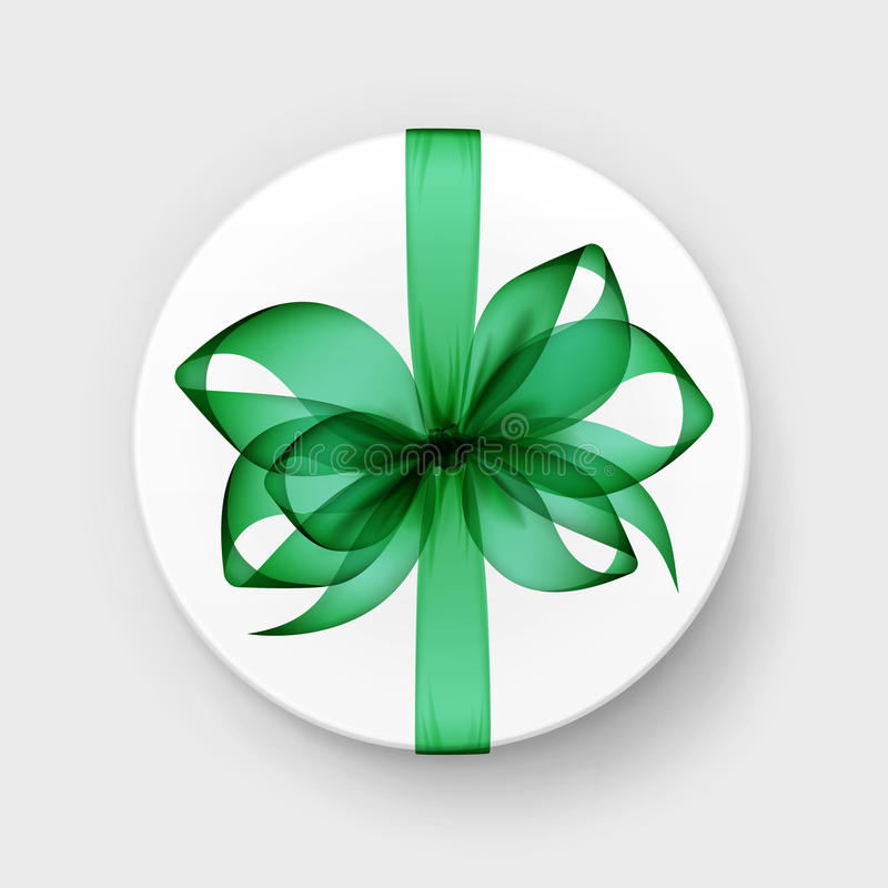 White Round Gift Box with Green Bow and Ribbon. Vector White Round Gift Box with Transparent Green Emerald Bow and Ribbon Top View Close up on Background vector illustration