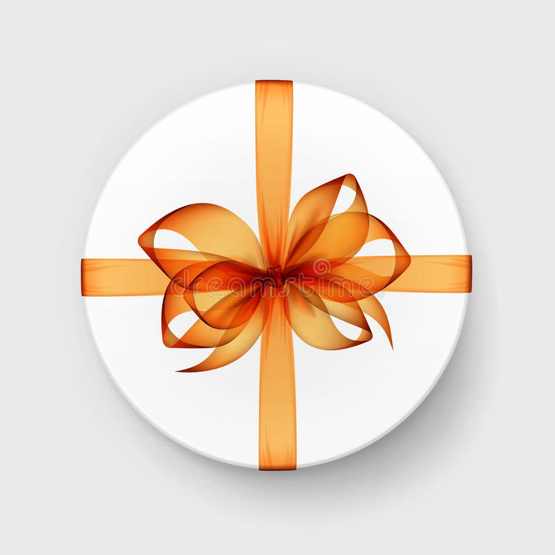 Free White Round Gift Box With Transparent Orange Bow And Ribbon Stock Images - 86303944