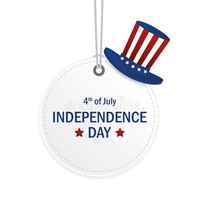 White round hanging label with hat in american flag style for Independence Day usa vector illustration