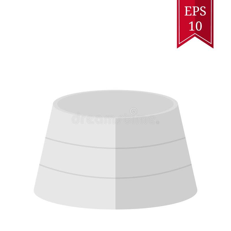 White Round Podium, Pedestal, Platform isolated on white background. Cartoon Flat Style. Vector illustration for Your Design stock illustration