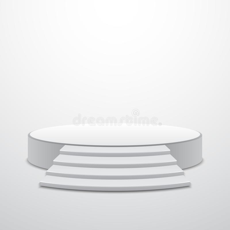 White round podium with stairs. Vector design stock illustration